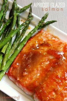 This Apricot Mustard Glazed Salmon is the perfect combination of sweet and savory, making this one of my new favorite recipes! Baked Salmon Recipes, Honey Recipes, Fish Recipes, Seafood Recipes, Healthy Recipes, Parmesan Recipes, Healthy Meals, Asian Recipes, Yummy Recipes