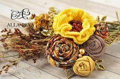 """Купить Брошь """"Солнечный день"""" - комбинированный, брошь, брошь цветок, цветы из…"""