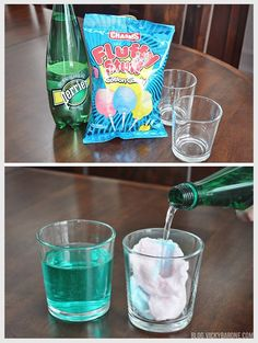 Sparkling Cotton Candy Drink | perrier and cotton candy | magic cotton candy drink | try with champagne or sprite | New Years Eve ideas for kids
