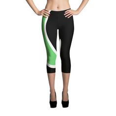 Green and White Wave Black Capri Leggings