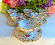 6 Beautiful Vintage Castleton Porcelain Cups & Saucers ~ Sunnyvale Gold Roses #Castleton