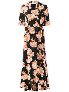 2549a354 Ganni Geroux Floral Print Wrap Dress - Farfetch Silk Floral Dress, Floral  Dresses, Floral