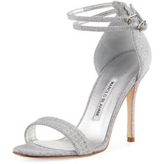 Manolo Blahnik Willis Metallic d'Orsay Sandal (10 015 ZAR) ❤ liked on Polyvore featuring shoes, sandals, shoes sandals, silver, strappy sandals, metallic strappy sandals, ankle tie sandals, strap sandals and open toe sandals