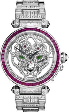 Pasha de Cartier 42  mm Squelette watch 42 mm, rhodiumized 18K white gold, rubies, diamonds