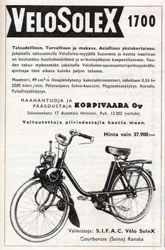 Retro Ads, Vintage Advertisements, Vintage Ads, Moto Scooter, Classic Bikes, Old Ads, Finland, Nostalgia, Bicycle