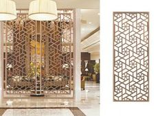 Gallery for the design of laser cut screens to show the design style and product effect of the laser cut metal screens made by stainless steel. Laser Cut Screens, Laser Cut Panels, Laser Cut Metal, Screen Design, Door Design, Living Room Partition, Room Partition Designs, Partition Screen, Divider Screen