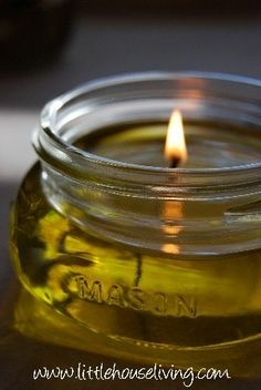Olive Oil Candles! Make candles with olive oil! Personalize with herbs or essential oils for aromatherapy. SO easy!