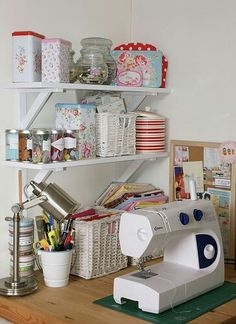 Sewing Room Ideas- going to get this set up in our craft room for Kelsay Sewing Spaces, My Sewing Room, Sewing Rooms, Sewing Room Organization, Craft Room Storage, Craft Rooms, Yarn Storage, Organization Ideas, Storage Ideas