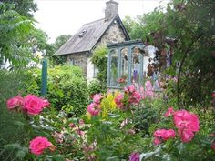 Conservatory and rose garden of a 300 yr old cottage in North Wales.  www.vrbo.com/406935