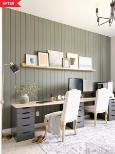Before and After: A smart IKEA hack makes this home office transformation extra practical. Before and After: A smart IKEA hack makes this home office transformation extra practical. Ikea Home Office, Home Office Setup, Office Inspo, Home Office Space, Home Office Design, Office Ideas, Basement Office, Desk Ideas, Décor Ideas