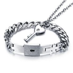 OPK Jewelry Titanium Steel Love Heart Lock Bangle Matching Key Pendant Necklace Couples >>> Check this awesome product by going to the link at the image.