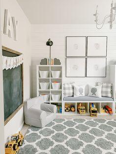 Gray and White Playroom Small Playroom, Toddler Playroom, Playroom Design, Kids Room Design, Playroom Decor, Baby Room Decor, Small Kids Playrooms, Boys Playroom Ideas, Modern Playroom