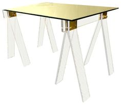 dream desk. Lucite Saw Horses With Brass Detail contemporary dining tables