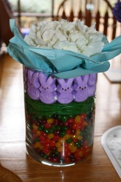 A birthday/easter gift I enjoyed making.  Complete with starburst jellybeans, twizzlers & peeps.