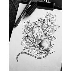 """68 Likes, 4 Comments - Essi Tattoo & Art ✨ (@essitattoo) on Instagram: """" #rat #botanical #ink #drawing #sketch #tattooart #natureart #blacktattooart #tattoodesign…"""""""