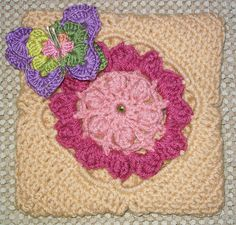"Blooming Beauty 12"" square...the butterfly is a sweet touch!"