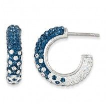 Spirit Collection- Blue and White Team Colors Sterling Silver Swarovski Elements Spirit Hoop Earrings