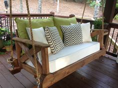 56 DIY Porch Swing Plans [Free Blueprints With a repurposed crib mattress for our cushion, we are enjoying our new swing! Diy Porch, House With Porch, Crib Mattress, Wooden Porch, Diy Porch Swing Bed, Home Decor, Crib Mattress Repurpose, Rustic Porch, Porch Decorating