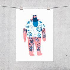 Tattooed man A3 Limited Edition Risograph Print por ilusteo en Etsy