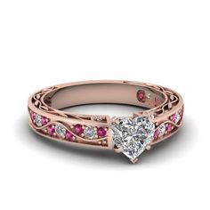 Antique Scroll Ring Heart Shaped diamond Side Stone Engagement Rings with Pink Sapphire in 14K Rose Gold exclusively styled by Fascinating Diamonds