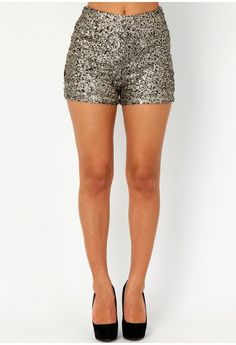 High Waist Sequin Shorts. If only I had some place to where those!