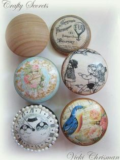 Beautiful wooden knobs transformed with decoupage. Use vintage papers, Christmas cards, old sheet music or old dictionary paper! Decoupage Furniture, Painted Furniture, Diy Furniture, Furniture Stores, Decoupage Ideas, Antique Furniture, Decoupage Letters, Sectional Furniture, Furniture Knobs