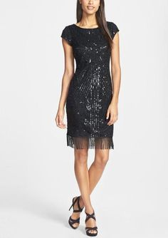 Black sequin flapper-inspired dress, perfect for a Gatsby theme wedding!