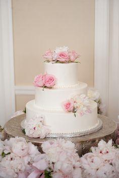 Romantic Three-Tier Pink and White Wedding Cake | Robert & Kathleen Photographers | TheKnot.com