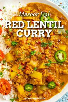 This red lentil curry recipe (masoor dal) is a spicy curry lover's dream, with nutty red lentils, hearty potatoes and lots of curry seasoning. Huge on flavor. So easy to make! As spicy as you want! Red Lentil Recipes, Spicy Vegetarian Recipes, Spicy Chicken Recipes, Curry Recipes, Easy Indian Recipes, Authentic Indian Recipes, Lentil Curry, Veg Curry, Indian Curry Vegetarian