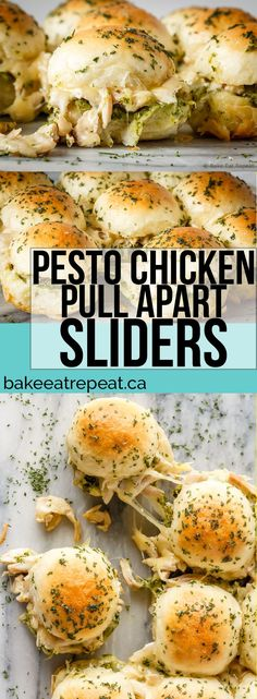 These easy to make, pesto chicken pull apart sliders are the perfect quick and easy dinner - and the leftover sliders are amazing for lunch the next day!