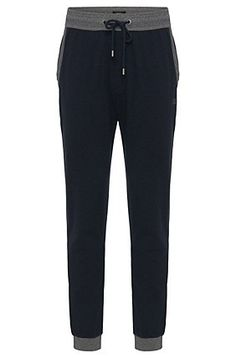 Trousers in cotton with ribbed trim: 'Long Pant Cuffs', Dark Blue