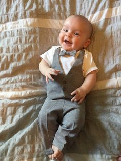 8b51f7bc4ec Infant Suit Grey..Baby Ring Bearer..baby Wedding outfit..outfit
