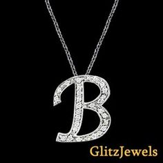 "18K White Gold 0.20 Ctw Round Brilliant SI/G-H Diamond Initial B Pendant With 18"" Chain  http://www.glitzdiamond.com/product/22120/18K_White_Gold_0.20_Ctw_Round_Brilliant_SI_G-H_Diamond_Initial_B_Pendant_With_18%22_Chain/"