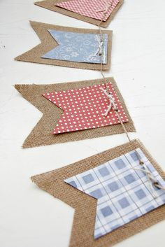 DIY of July Banner: Use leftover scrapbook paper to create this rustic banner for your holiday barbecue. Click through to find more easy, DIY patriotic crafts for of July. Patriotic Crafts, July Crafts, Diy And Crafts, Crafts For Kids, 4th Of July Decorations, Vintage Decorations, Paper Banners, Burlap Banners, Paper Bunting