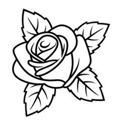Colorful Drawings, Art Drawings, Coloring Books, Coloring Pages, Rose Outline, Rose Stencil, Rose Sketch, Floral Embroidery Patterns, Desenho Tattoo