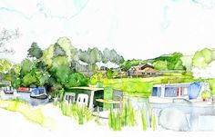Peak Forest Canal, Cheshire - Simone Ridyard, Manchester architect and artist Watercolor Trees, Watercolor Sketch, Perspective Sketch, City Sketch, Illustration Art, Illustrations, Site Plans, Architectural Sketches, Landscape Drawings