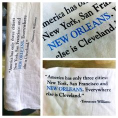 Tennessee Williams Quote Bar Towel from Fleurty Girl in New Orleans