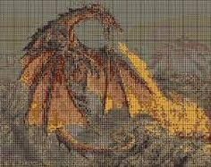 Znalezione obrazy dla zapytania smok haft krzyżykowy