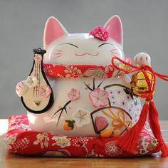 Maneki Neko - statue de chat japonais en porcelaine avec luth (Grand Modèle)