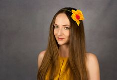 Yellow orchid flower headbands for girls by WowBloomRoom on Etsy