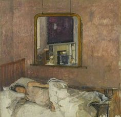 June in Bed by Patrick George  1955 Oil on canvas, 121.9 x 121.9 cm   Collection: Arts Council Collection