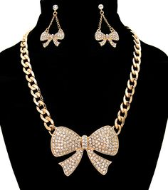 SMN20052GLDGD Ribbon Statement Crystal Necklace set (Gold & Silver)