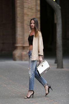 blazer jeans and crop top | FASHION | M E G H A N ♠ M A C K E N Z I E