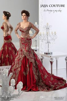 Red Formal Evening Dresses 2014 Arabic Jajja-Couture Embroidery V Neck Vestidos Ball Gowns Prom Cheap Ball Gowns Long Sleeve Sexy Dress Two Piece Wedding Dress, Lace Wedding Dress, Red Wedding Dresses, Formal Dresses For Weddings, Bridal Dresses, Prom Gowns, Ball Gowns, Formal Wedding, Couture Dresses