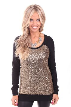 Lime Lush Boutique - Black Sweater with Gold Sequin Front , $46.99 (http://www.limelush.com/black-sweater-with-gold-sequin-front/)