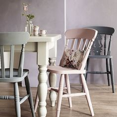 Farmhouse table and chairs offer - save up to 150 Dining Table Chairs, Dining Room Furniture, Kitchen Tables, Wooden Table And Chairs, Dining Set, Painted Wooden Chairs, Painted Furniture, Kitchen Chairs Painted, Colorful Chairs