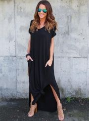 The dress is featuring v neck, short sleeve, side slit, loose fit, solid color and maxi length.;Polyester, soft and comfortable;The dress is featuring v neck, short sleeve, side slit, loose fit, solid color and maxi length.;Package Contents:1*Dress (No ac