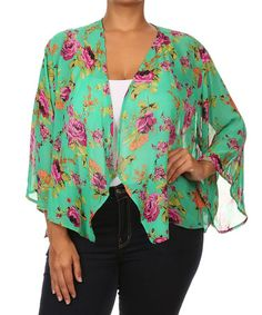 Love this Green Floral Open Cardigan - Plus on #zulily! #zulilyfinds