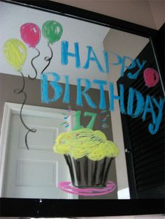 Window markers on mirror for Birthday surprise!