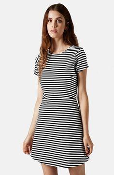 Topshop Sailor Stripe Bonded Skater Dress available at #Nordstrom